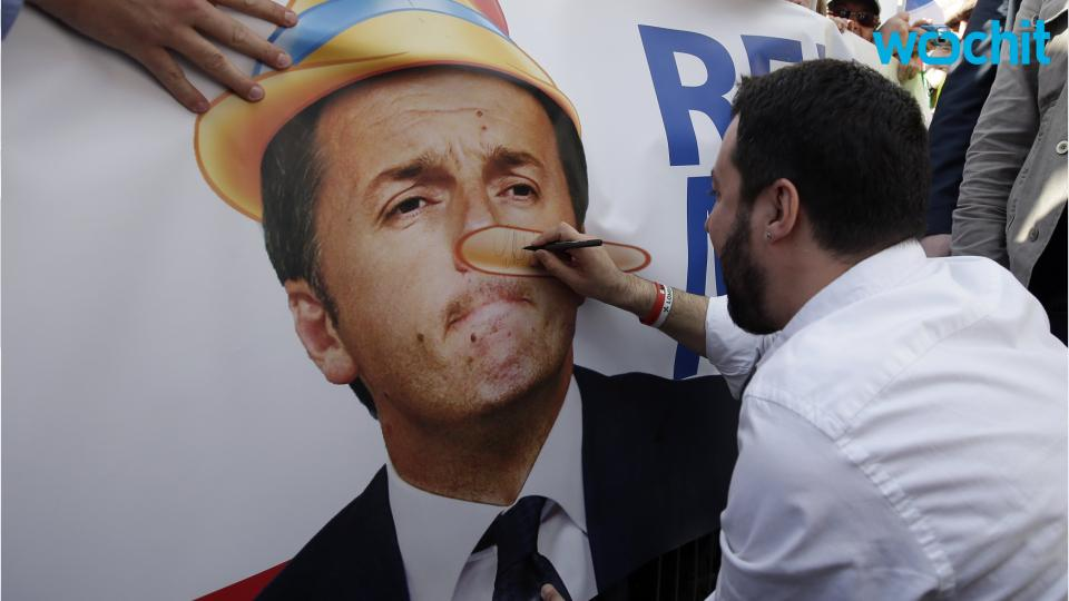 Italy Anti-immigrant Northern League Rallies Against Renzi